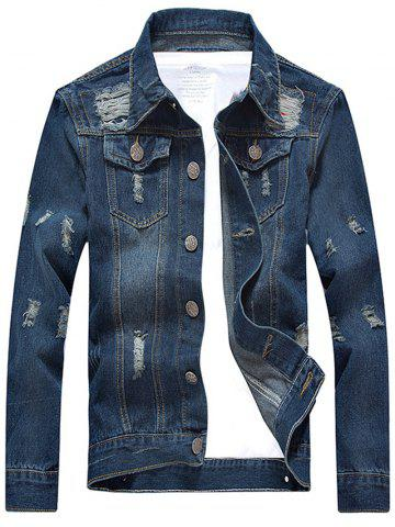 Fashion Scratched Ripped Turn-down Collar Long Sleeve Denim Jacket BLUE XL