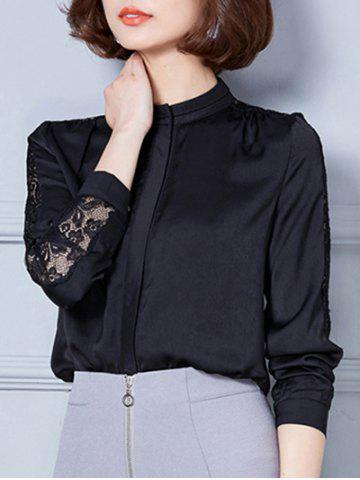 Discount Stand Collar Lace Spliced Hollow Out Blouse