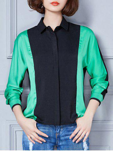 Trendy Contrast Color Spliced Loose-Fitting Shirt