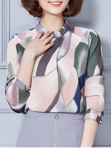 Shops Stand Collar Printed Texture Blouse