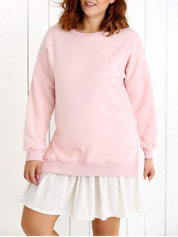 False Two Piece Frilled Sweater Dress - PINK 5XL