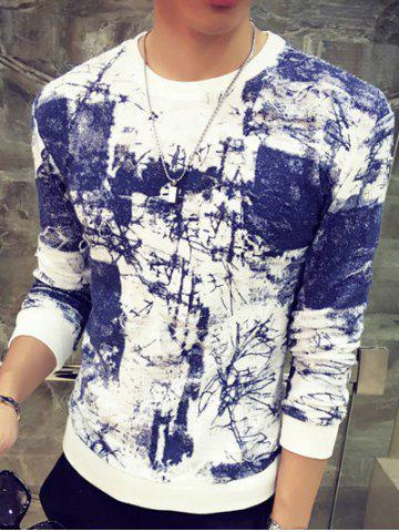 New Abstract Painting Print Round Neck Long Sleeve Sweatshirt BLUE M