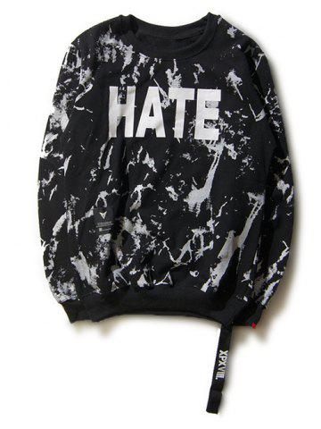Outfits Hate and Love Print Splash-Ink Round Neck Long Sleeve Sweatshirt