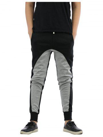 Cheap Splicing Design Elastic Waist Beam Feet Jogger Pants