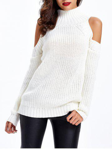 Best Textured Cold Shoulder Sweater WHITE ONE SIZE