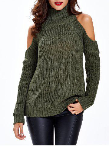 Cheap Textured Cold Shoulder Sweater ARMY GREEN ONE SIZE