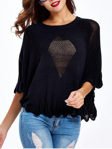 Discount Butterfly Sleeves Ruffled Openwork Sweater