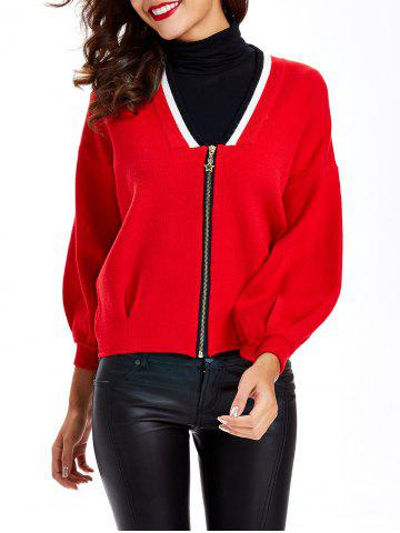 Outfit Puff Sleeves Shirred Zipper-Front Cardigan