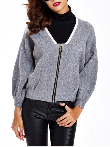 Puff Sleeves Shirred Zipper-Front Cardigan - Gray - One Size