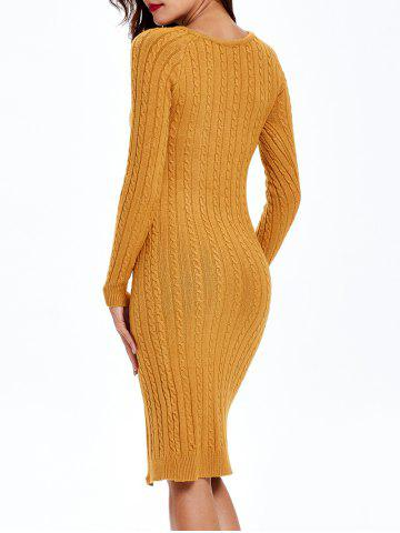 Shops Cable Knit Long Sleeve Bodycon Sweater Dress - ONE SIZE EARTHY Mobile