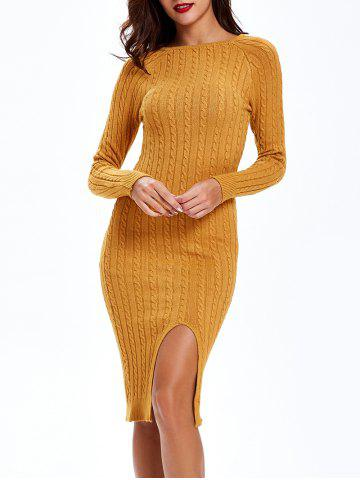 Unique Cable Knit Long Sleeve Bodycon Sweater Dress - ONE SIZE EARTHY Mobile
