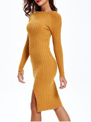 Fashion Cable Knit Long Sleeve Bodycon Sweater Dress - ONE SIZE EARTHY Mobile
