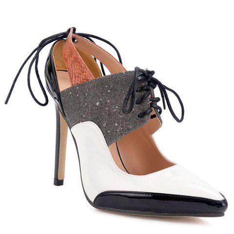 New Tie Up Splicing Stiletto Heel Hollow Out Pumps