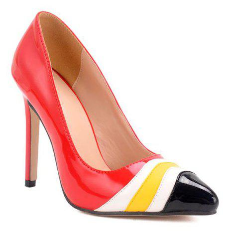 Online Point Toe Color Block Pumps RED 39