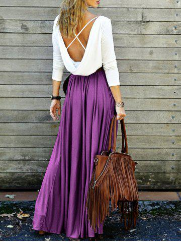 Best Maxi Long Sleeve Backless Pleated Prom Dress PURPLE M