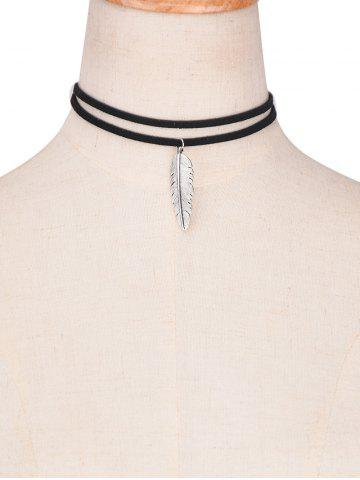 Fancy Faux Leather Alloy Feather Choker Necklace BLACK