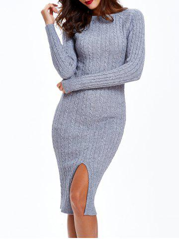 Sale Cable Knit Long Sleeve Bodycon Sweater Dress - ONE SIZE GRAY Mobile