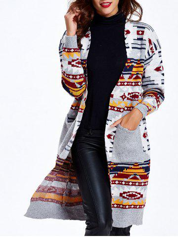 Outfit Ethnic Jacquard Double Pockets Long Cardigan LIGHT GRAY ONE SIZE