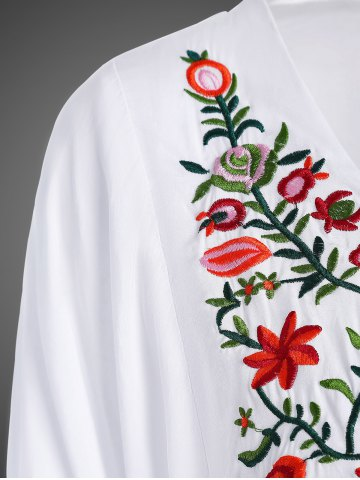 Outfit Embroidered Plus Size Casual Flower Dress - WHITE 4XL Mobile