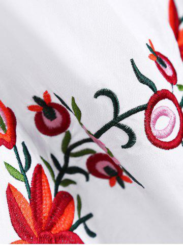 Unique Embroidered Plus Size Casual Flower Dress - WHITE 4XL Mobile