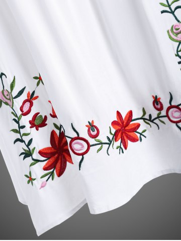 Fashion Embroidered Plus Size Casual Flower Dress - WHITE 4XL Mobile