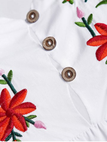 New Embroidered Plus Size Casual Flower Dress - WHITE 4XL Mobile
