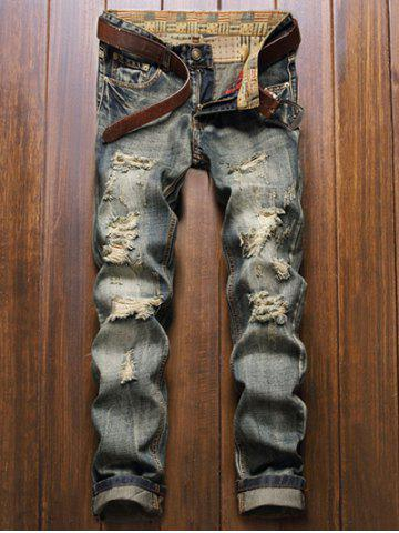 Fashion Frayed Zipper Fly Five-Pocket Straight Leg Ripped Jeans BLUE 40