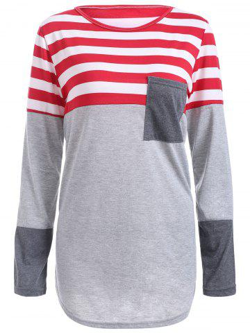 Striped Pocket Tunic T-Shirt - Light Gray - Xl