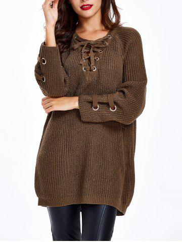 Trendy Lace Up Criss-Cross Long Sweater CHOCOLATE ONE SIZE
