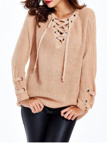Buy Lace Up Criss-Cross Long Sweater