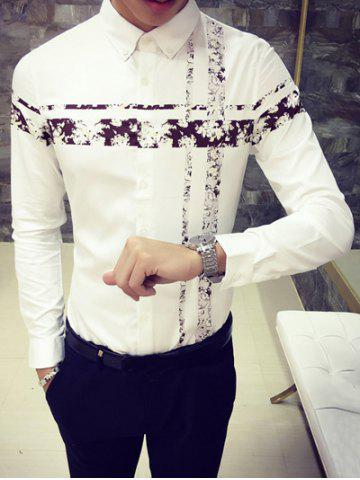Turn-Down Collar Flower Print Spliced Long Sleeve Button-Down Shirt - COFFEE L