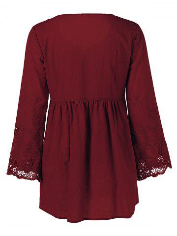 Sale Lace Patchwork Peasant Top - WINE RED 2XL Mobile