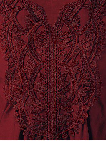 Outfits Lace Patchwork Peasant Top - WINE RED 2XL Mobile