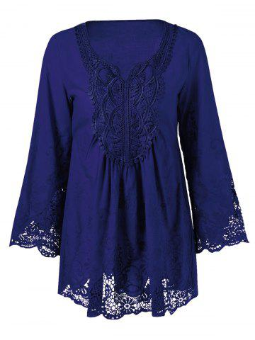 Trendy Lace Patchwork Peasant Top DEEP BLUE XL