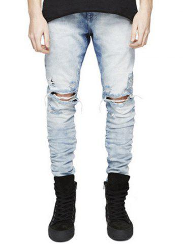 Unique Knee Holes Frayed Zipper Fly Narrow Feet Ripped Jeans LIGHT BLUE 30