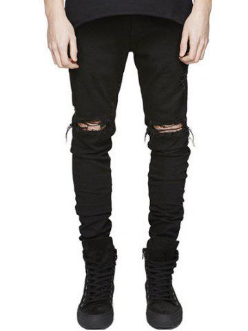 Knee Holes Frayed Zipper Fly Narrow Feet Ripped Jeans - Black - 36