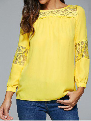 Fashion Lace Spliced Long Sleeve Blouse