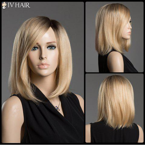 Outfit Sparkle Medium Side Parting Human Hair Capless Straight Ombre Color Siv Hair Wig