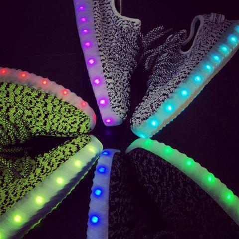 Latest Color Block Lights Up Led Luminous Lace-Up Athletic Shoes - 43 LIGHT GRAY Mobile