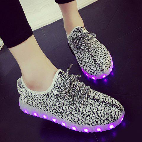Hot Color Block Lights Up Led Luminous Lace-Up Athletic Shoes - 43 LIGHT GRAY Mobile