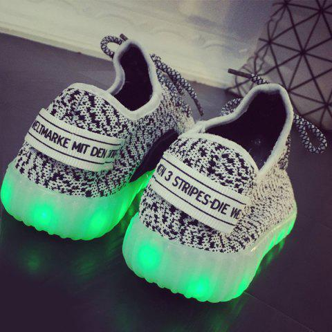 Latest Color Block Lights Up Led Luminous Lace-Up Athletic Shoes - 41 LIGHT GRAY Mobile