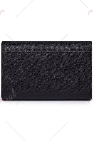 Trendy Leather Rhniestone Bow Small Wallet - BLACK  Mobile