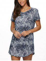 Vintage Floral Print Mini Shift Dress - COLORMIX XL