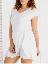 Scoop Neck Overlay Plus Size Romper