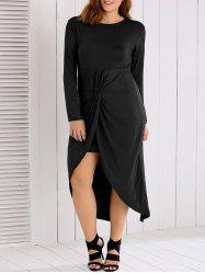 Long Sleeves Twisted Asymmetrical Dress