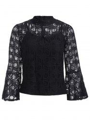 Flare Sleeves Lace See-Through Blouse -