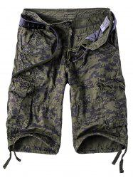 Camouflage Straight Leg Multi-Pocket Zipper Fly Cargo Shorts For Men - CAMOUFLAGE