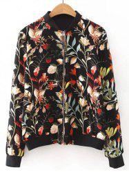 Floral Pattern Zipper Design Jacket