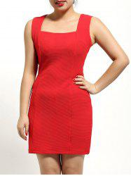 Square Neck Sleeveless Textured Dress -
