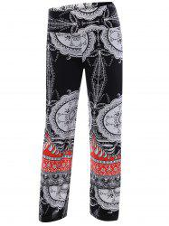 Tribal Pattern High Waist Palazzo Pants - BLACK